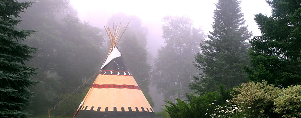 Misty Morning Teepee at Grail Springs